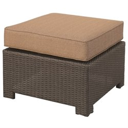 Darlee Vienna Wicker Patio Ottoman in Espresso (Set of 2)