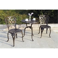 Darlee San Marino 3 Piece Patio Bistro Set in Antique Bronze