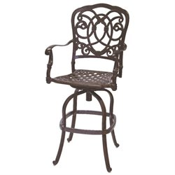 Darlee Florence Swivel Patio Bar Stool with Cushion (Set of 2)