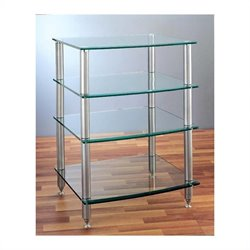 AGR-404 4 Shelf Silver Glass Audio Rack