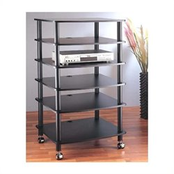 AR406 6 Shelf Black Audio Rack