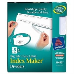 Avery Big Tab Clear Label Index Maker Dividers