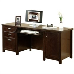 Kathy Ireland Home by Martin Tribeca Loft Wood Credenza Desk in Cherry