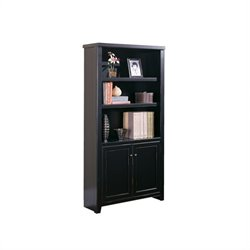 Kathy Ireland Home by Martin Tribeca Loft 3 Shelf Lower Door Wood Bookcase in Black