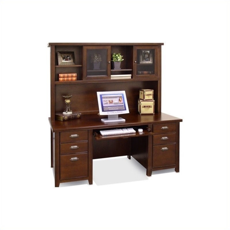 Kathy Ireland Home Wood Executive Desk with Hutch in Cherry