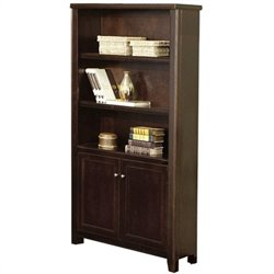 Kathy Ireland Home by Martin Tribeca Loft Lower Door 5 Shelf Wood Bookcase in Cherry