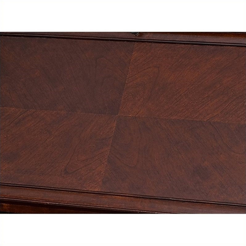 Kathy Ireland Home by Martin Mount View Wood Writing Desk in Cherry Cobblestone