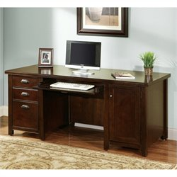 Kathy Ireland Home by Martin Tribeca Loft Double Pedestal Wood Computer Desk in Cherry