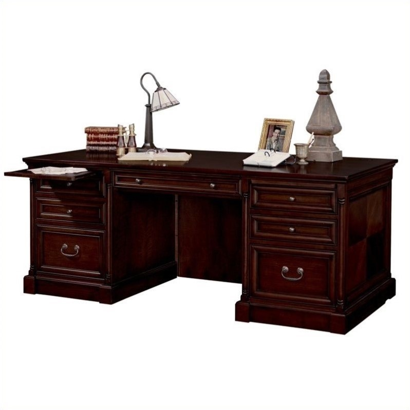 Martin Furniture Mount View Executive Wood Computer Desk in Cherry Cobblestone