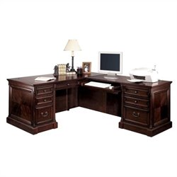 Kathy Ireland Home by Martin Mount View Executive RHF L-Shaped Desk in Cherry Cobblestone