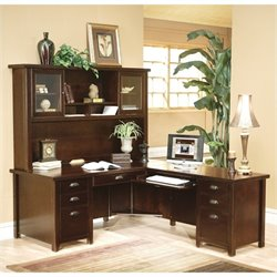 Kathy Ireland Home L-Shaped Executive Desk with Hutch in Cherry