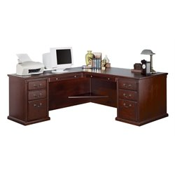 Kathy Ireland Home by Martin Huntington Club LHF L-Shaped Executive Desk in Vibrant Cherry