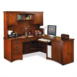Kathy Ireland Home by Martin Furniture Mission Pasadena L-Shape Wood Home Office Set with Hutch in M