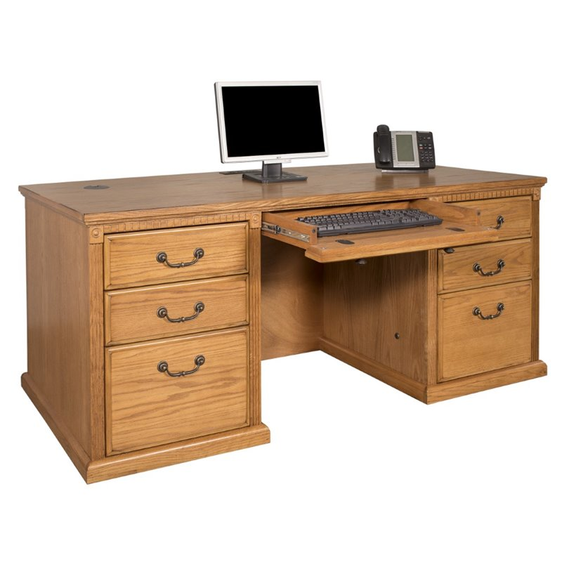 Kathy Ireland Home By Martin Huntington Oxford Executive Double Pedestal Desk In Wheat Ho680 W