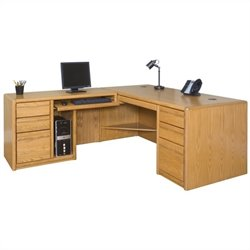 Martin Furniture Contemporary LHF L-Shaped Computer Desk in Medium Oak