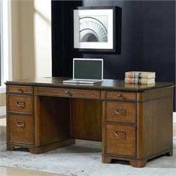 Kathy Ireland Home Double Pedestal Executive Desk in Warm Fruitwood