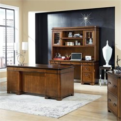 Kathy Ireland Home Executive Desk Credenza and Hutch in Warm Fruitwood