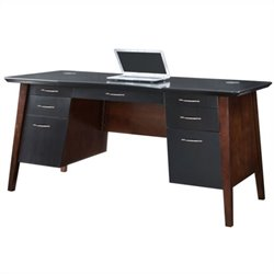 Kathy Ireland Home by Martin iNfinity Executive Desk in Black w Bourbon