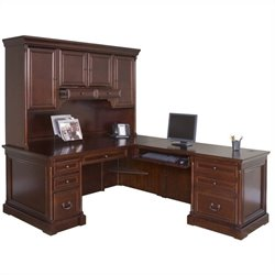 Kathy Ireland Home by Martin Mount View Right Hand Executive Desk with Hutch in Cherry Cobblestone