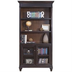 Martin Furniture Hartford Library Bookcase in 2 Tone Distressed Black