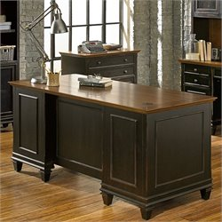 Martin Furniture Hartford Double Pedestal Desk in Weathered Two Tone