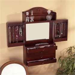 Southern Enterprises Evangeline Wall-Mount Jewelry Armoire in Cherry