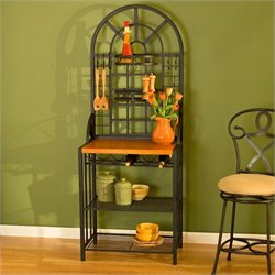 Southern Enterprises Dome Bakers Rack with Wine Storage