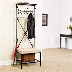 Southern Enterprises Leon Entryway Storage Rack/Bench Seat in Textured Black