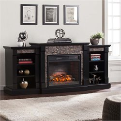 Gallatin Faux Stone Electric Fireplace in Black