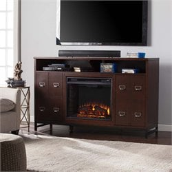 Rutherford Electric Fireplace TV Stand in Brown