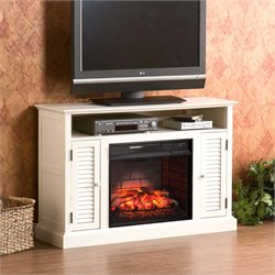 Antebellum Electric Fireplace TV Stand in White