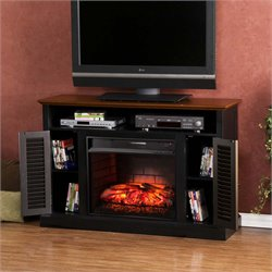 Antebellum Electric Fireplace TV Stand in Black and Walnut