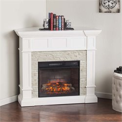 Merrimack Corner Electric Fireplace in White