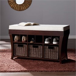Southern Enterprises Lowry Shoe Storage Bench in Espresso