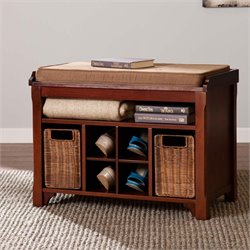 Southern Enterprises Flynn Shoe Storage Bench in Espresso
