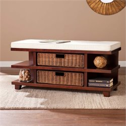 Southern Enterprises Adler Storage Bench in Caramel Espresso