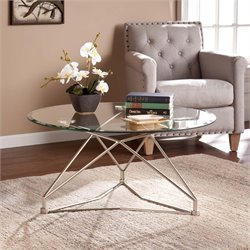 Southern Enterprises Primero Round Glass Top Coffee Table in Silver