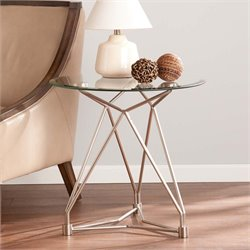 Southern Enterprises Primero Round Glass Top End Table in Silver