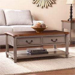 Southern Enterprises Devonshire Coffee Table in Warm Gray and Brown