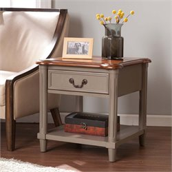 Southern Enterprises Devonshire End Table in Warm Gray and Brown