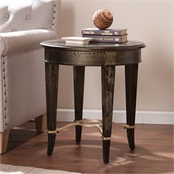 Southern Enterprises Cheswick Round Glass End Table in Black