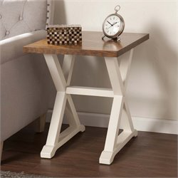 Southern Enterprises Calgary End Table in Weathered Oak and White