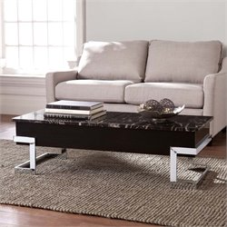 Southern Enterprises Torina Faux Marble Lift Top Coffee Table in Black
