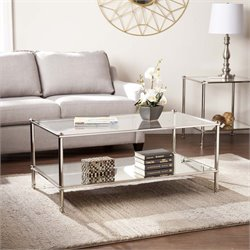 Southern Enterprises Paschall Glass Top Coffee Table in Silver