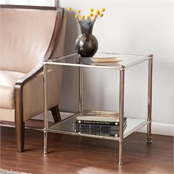 Southern Enterprises Paschall Square Glass Top End Table in Silver