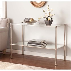 Southern Enterprises Paschall Glass Top Console Table in Silver