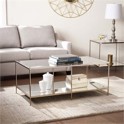 Southern Enterprises Knox Glass Top Coffee Table in Gold