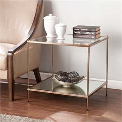 Southern Enterprises Knox Square Glass Top End Table in Gold