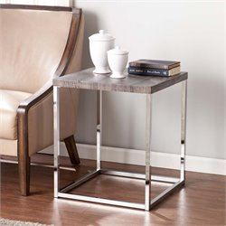 Southern Enterprises Glynn Square End Table in Gray and Chrome