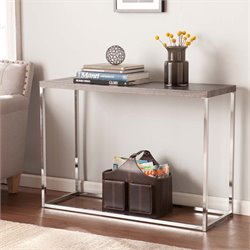 Southern Enterprises Glynn Console Table in Gray and Chrome